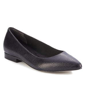 Women's Comfort Flat- Reece in Snakeskin Print Leather