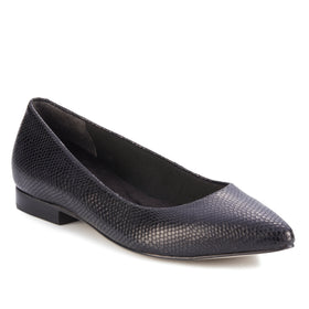 Reece: Black Snakeskin Print Leather NEW