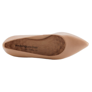 Women's Comfort Flat- Reece in New Nude Leather