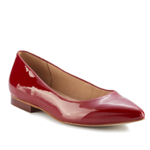 Women's Comfort Flat- Reece in Red Patent Leather