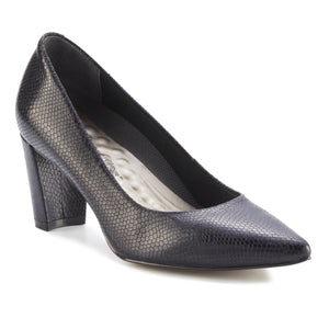Women's Comfort Pumps- Samantha in Black Snakeskin Print Leather