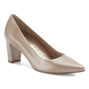 Samantha: Light Taupe Metallic Snakeskin Print Leather