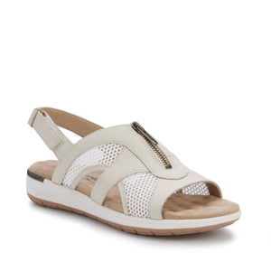 Women's Comfort Sandal- Spencer in Bone Nubuck/Bone Mesh