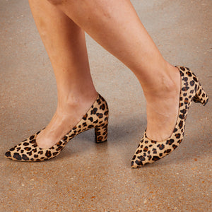 Women's Comfort Pumps- Samantha in Baby Leopard Calf Hair