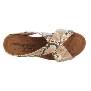 Women's Comfort Wedge Sandal- Taralynn in Brown and Bone Snake Print BOUTIQUE COLLECTION