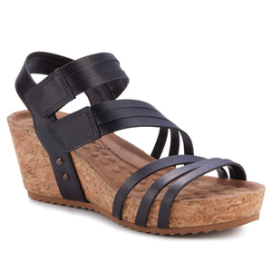 Women's Comfort Wedge Sandal- Tiana in Black Leather