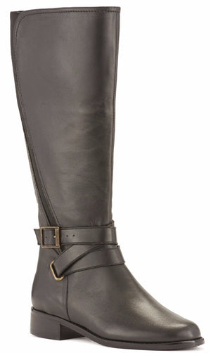 Women's Comfort Tall Boot - Tristan in Black Nappa Leather WIDE WIDE CALF LIMITED STOCK