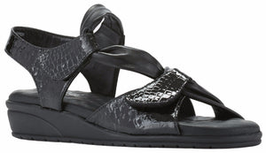 Women's Comfort Sandal- Valerie in Black Baby Gator Print Leather