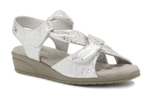 Women's Comfort Sandal- Valerie in White & Silver Snake Print Leather