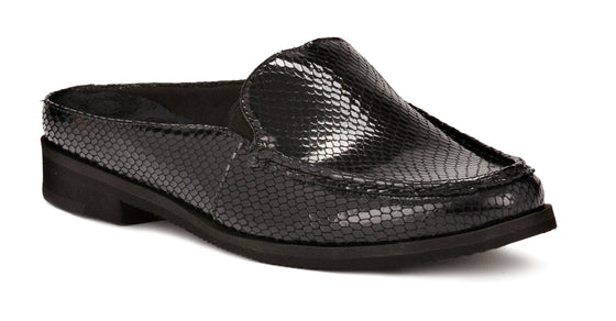 Windsor: Black Patent Snake Print Leather