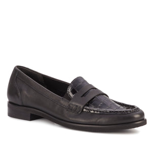 Women's Comfort Loafer- Winnie in Black River Leather/ Croco Patent
