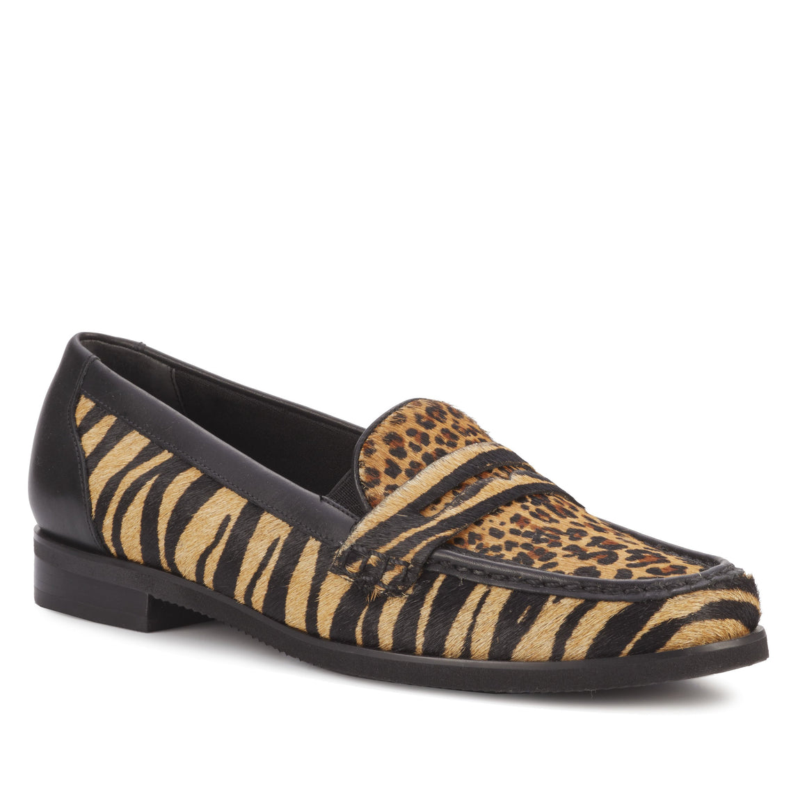 Winnie: Tan Zebra Calf Hair/Mini Cheetah/Black Leather NEW
