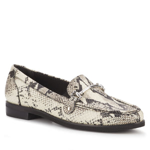 Women's Comfort Loafer- Wren in Black & Bone Snake Print Leather