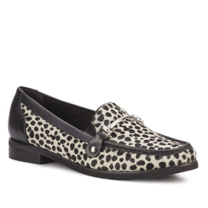 Women's Comfort Loafer- Wren in Ivory Cheetah Calf Hair/Black Soft Leather
