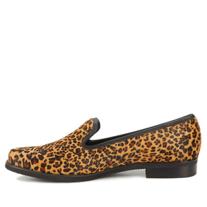 Wyatt: Camel Mini Leopard Calf Hair/Black Leather NEW
