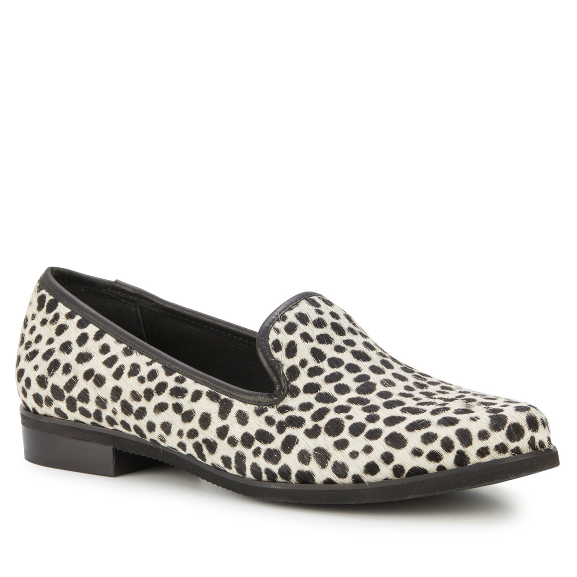 Wyatt: Ivory Mini Cheetah Calf Hair/Black Leather NEW