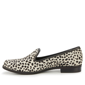 Women's Comfort Loafer- Wyatt in Ivory Mini Cheetah Calf Hair/Black Leather