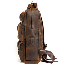 Load image into Gallery viewer, Super Large Space Natural Color Leather Men Messenger Travel Bag Backpack