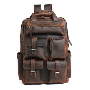 Super Large Space Natural Color Leather Men Messenger Travel Bag Backpack