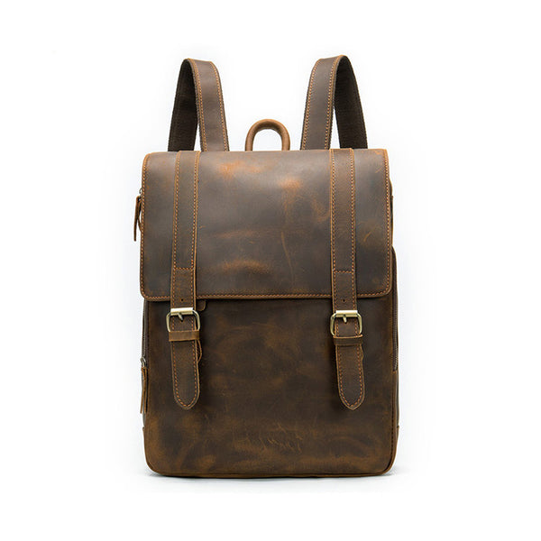 Men's Backpack Large Capacity 14 Inch Laptop Retro Leather Backpack