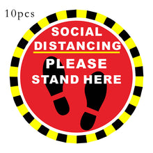 Load image into Gallery viewer, 10pcs Stand Here Floor Sign Sticker Keep Keep Your Distance D004