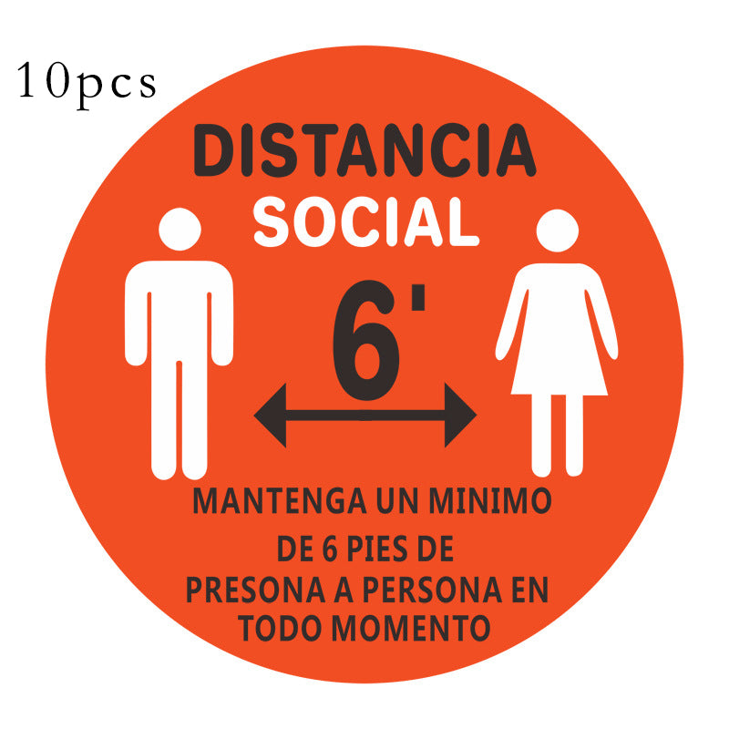 10pcs Stand Here Floor Sign Sticker Keep Keep Your Distance D005
