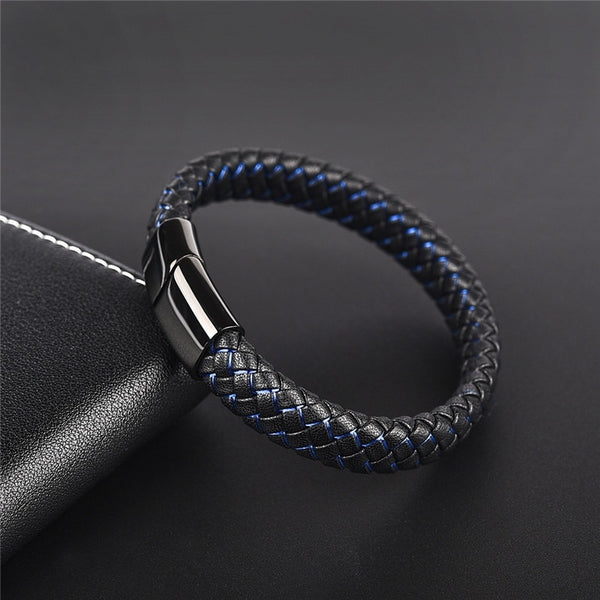 Men Punk Black Blue Braided Leather Bracelet for Men Fashion Gifts