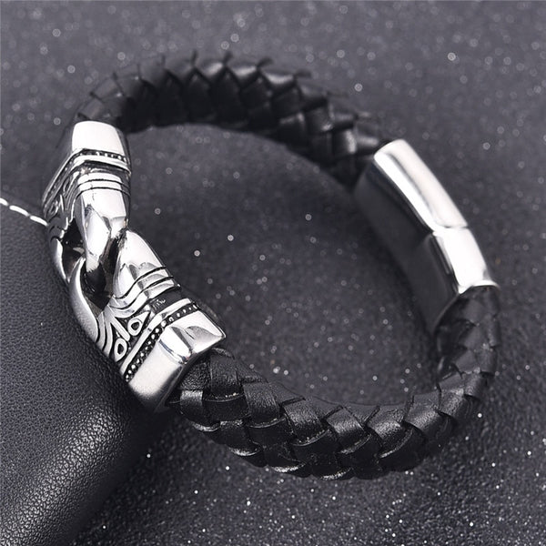 Punk Men Jewelry Braided Leather Bracelet Stainless Steel With Magnetic Clasp