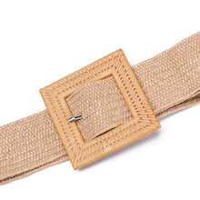 Load image into Gallery viewer, Round Buckle Dress Belt For Women Casual Braided Wide Strap Woven Elastic PP Straw Belts