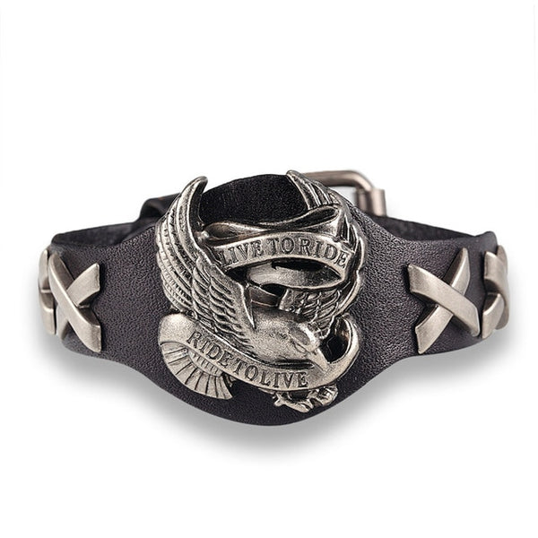 Eagle Retro Bracelet Genuine Leather Bracelet Men Woman Bangles