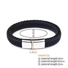 Load image into Gallery viewer, Men Punk Black Blue Braided Leather Bracelet for Men Fashion Gifts