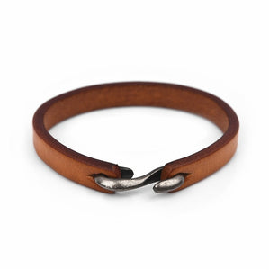 Men Bracelet Vintage Genuine Leather Hook Bracelet Men Wristband Bangles Male Jewelry