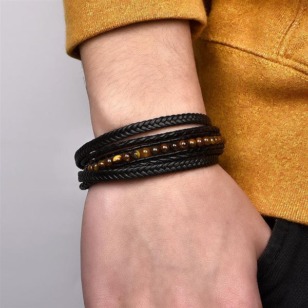 Fashion Natural Stone Beads Men Bracelet Multilayer Leather Bracelet Punk Jewelry