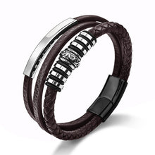 Load image into Gallery viewer, Leather Bracelet for Men Black Braid Multilayer Rope Chain Stainless Steel Magnetic Clasp