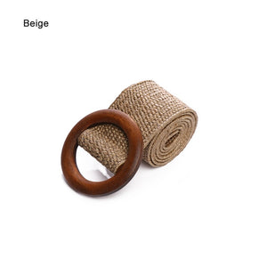 Round Buckle Dress Belt For Women Casual Braided Wide Strap Woven Elastic PP Straw Belts