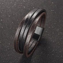 Load image into Gallery viewer, Punk Multilayer Leather Men Bracelet Black Silver Color Magnetic Clasps