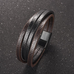 Punk Multilayer Leather Men Bracelet Black Silver Color Magnetic Clasps