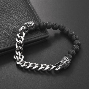 Punk Bracelet Natural Stone Beads Stainless Steel Chain Eagle Wolf Lion