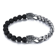 Load image into Gallery viewer, Punk Bracelet Natural Stone Beads Stainless Steel Chain Eagle Wolf Lion
