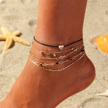 Load image into Gallery viewer, 4pcs Double Heart Love Chain Anklets