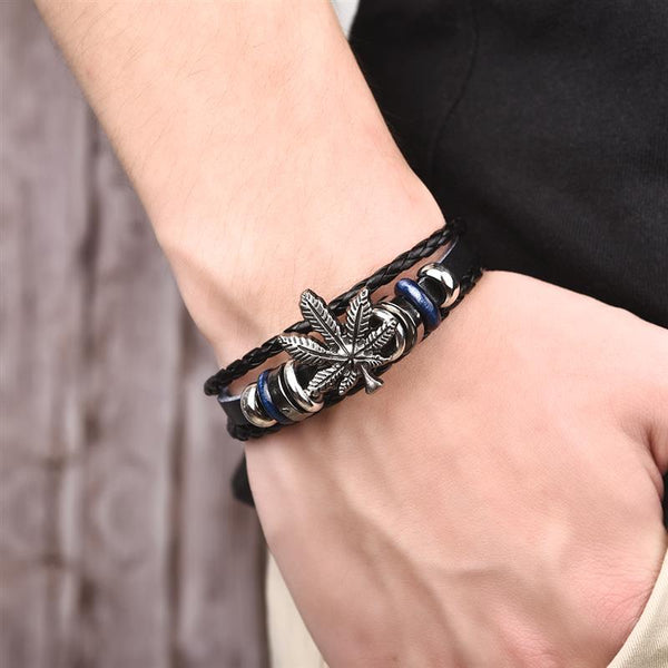 Multilayer Leather Bracelet Skull Star Leaf Geometric Beads Braided Bangle