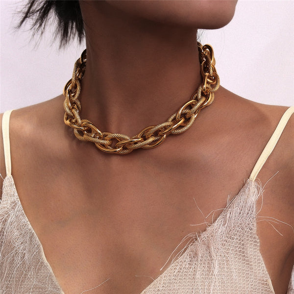 Punk Lock Choker Thick Chain Necklace Steampunk
