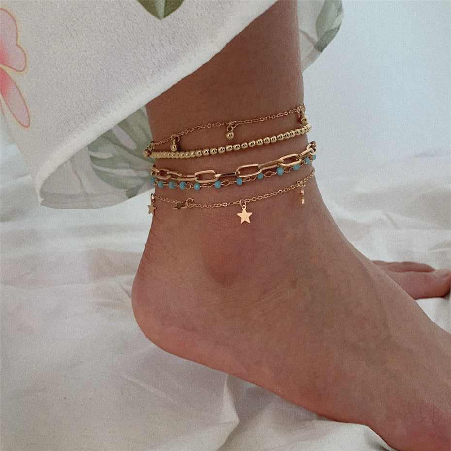 Bohemian Multi Layer Bead Anklets