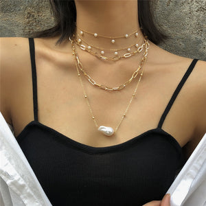 Multi Layer Imitation Pearl Tassel Choker Thick Necklace