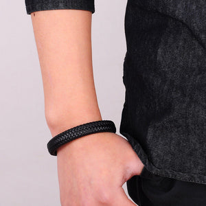 Punk Men Braided Leather Bracelet With Magnetic Clasp