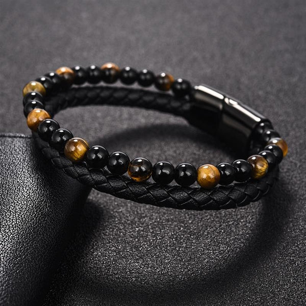 6MM Natural Stone Men Bracelet Black Genuine Leather Magnetic Buckle Bangle
