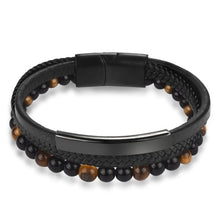 Load image into Gallery viewer, 6MM Natural Stone Men Bracelet Black Genuine Leather Magnetic Buckle Bangle