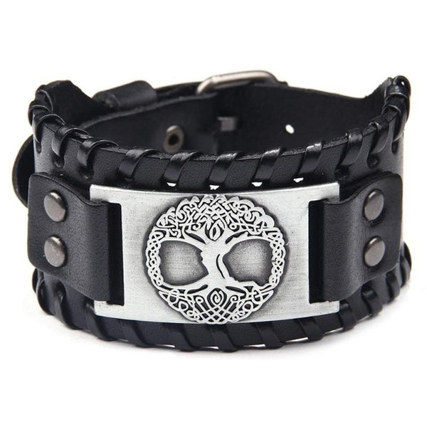 Viking Bracelet Nordic Wristbands Wide Leather Bangle Men Bracelet Jewelry