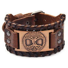 Load image into Gallery viewer, Viking Bracelet Nordic Wristbands Wide Leather Bangle Men Bracelet Jewelry