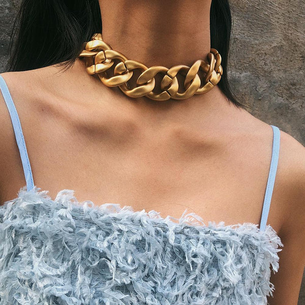 Punk Choker Thick Chain Necklace